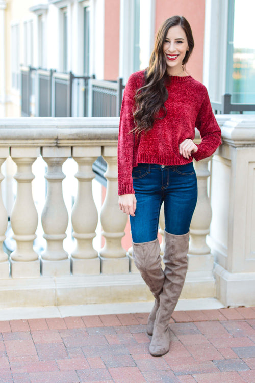 By The Fire Chenille Sweater-Tops-Southern State of Style, casual, work wear, southern, texas boutique, online boutique, women's clothing boutique, boerne boutique, cute, floral, game day, teacher outfit, fall outfit inspiration, tank top, kimono, long sleeve, boho chic, short sleeve