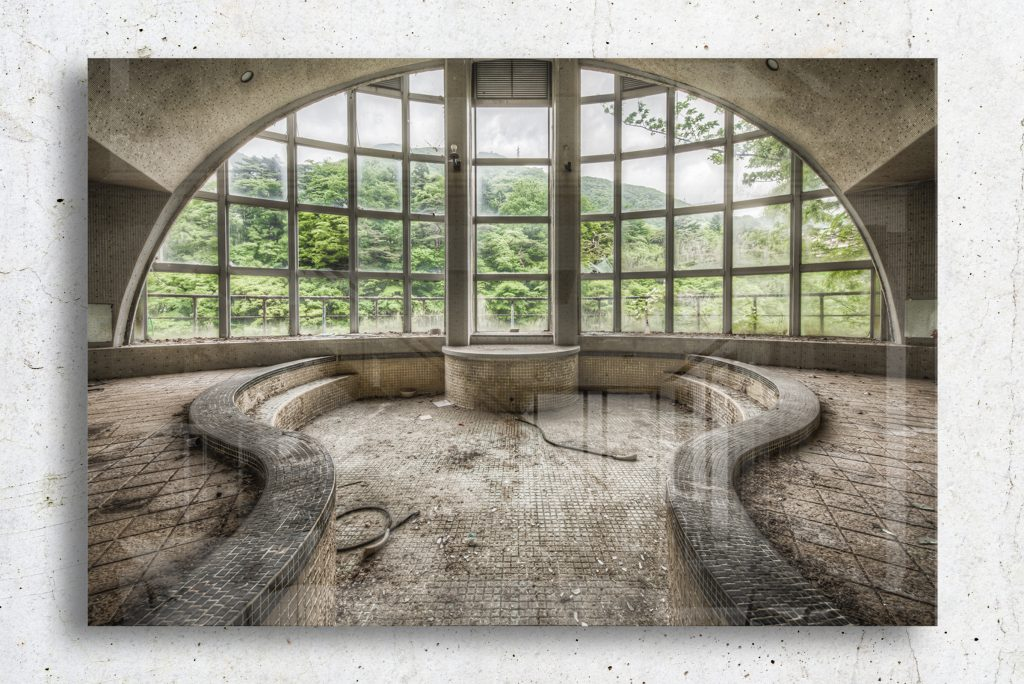 a lost collective glass print of an arched window looking out to trees
