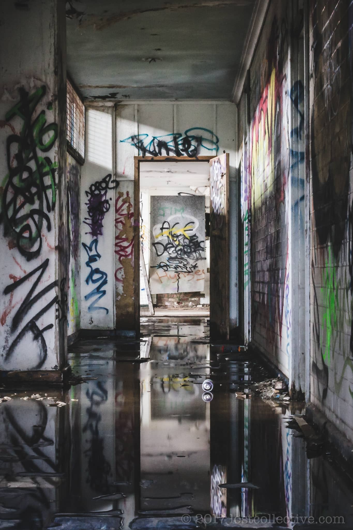 a flooded hallway in geelong b power station - domain - lost collective