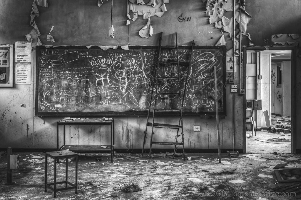 a badly decaying classroom of macquarie boys technology high - lost collective