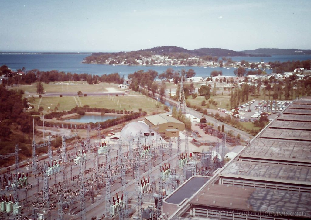 looking over the switchyard of wangi power station into wangi bay - lost collective