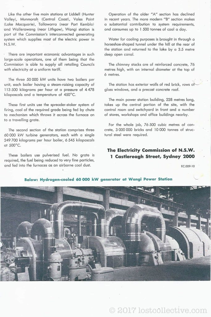 part of a scanned document about wangi power station showing a turbine generator - lost collective
