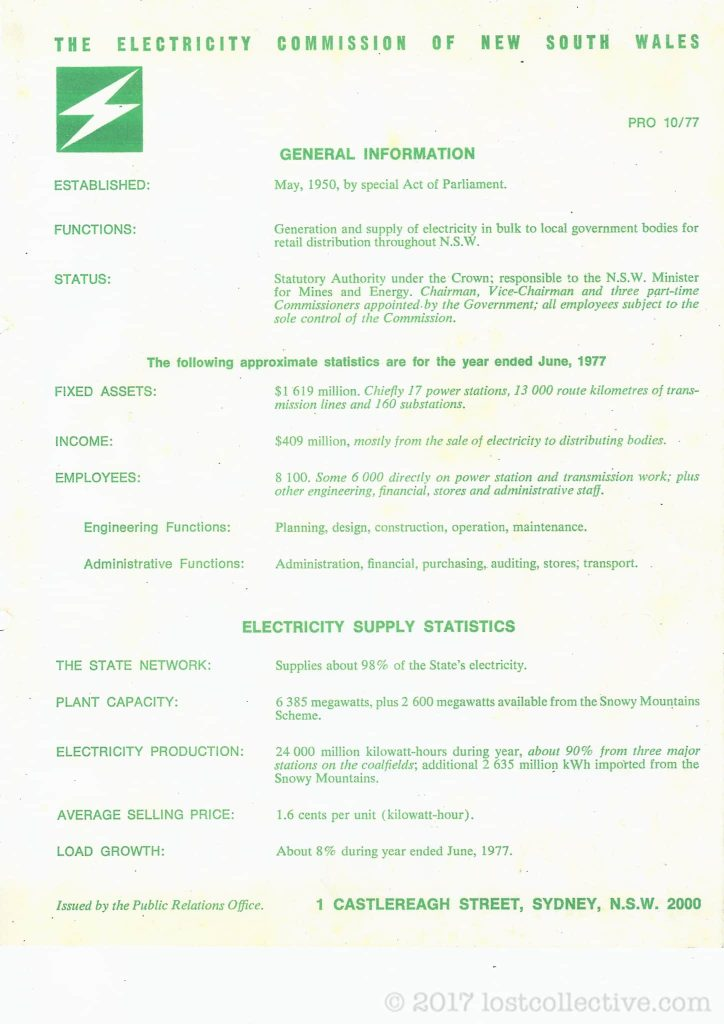 a scanned document by the electricity commission of nsw - lost collective