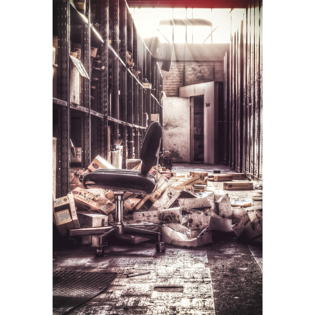 Storage Shelves | Abandoned Shoe Factory Fine Art Print - Lost Collective Shop