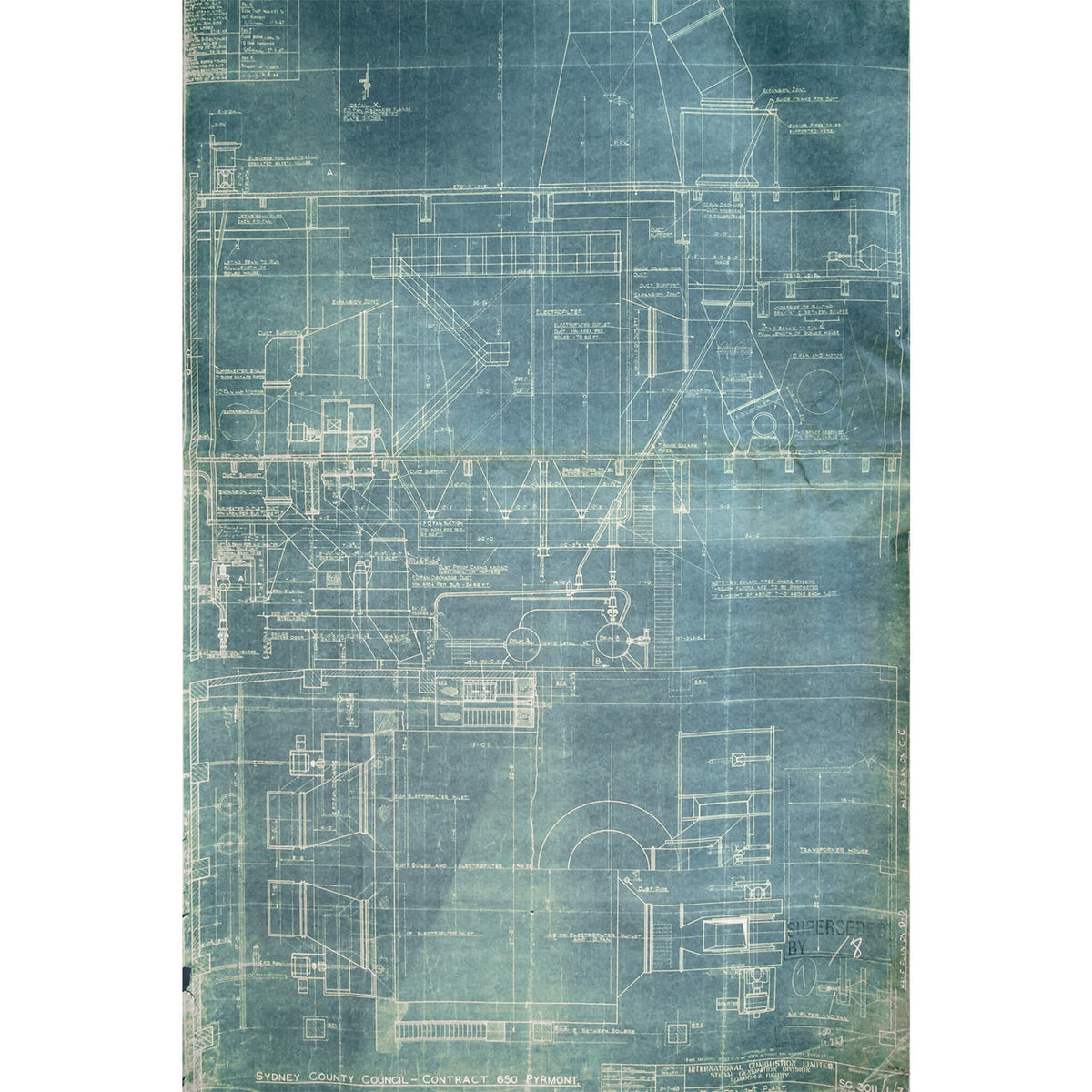 Boiler Blueprint | White Bay Power Station Fine Art Print - Lost Collective Shop