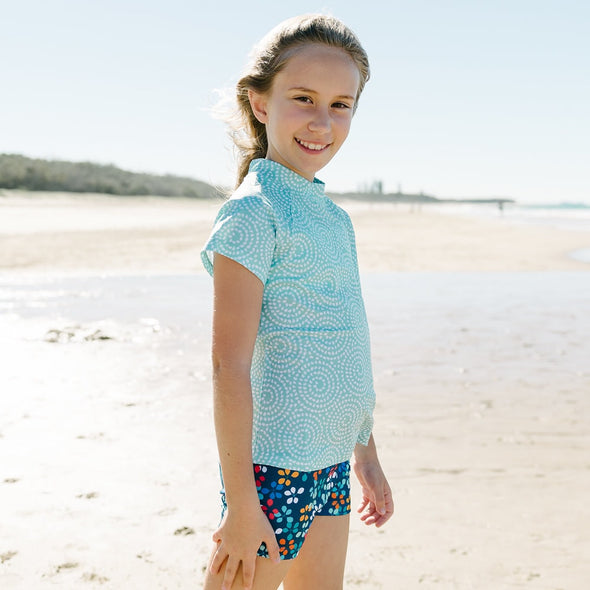 Mint Pebble Rashie with Navy Leaf Swim Shortss