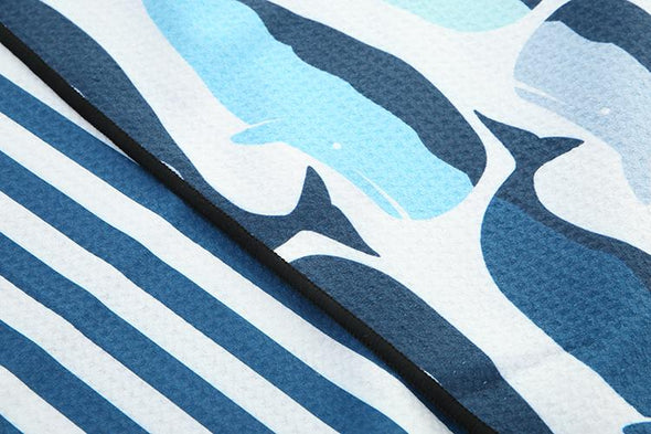 Navy Whale  Beach Towel