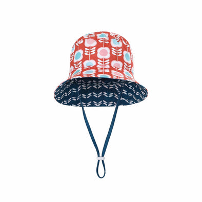Sandy Feet Australia Hat Girls Aegean Flower Reversible Bucket Hat