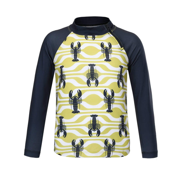 Boys Lemon Lobster Long Sleeve Zip Rashie