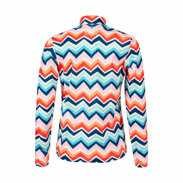 Chevron Colour Burst Long Sleeve Zip Rashie
