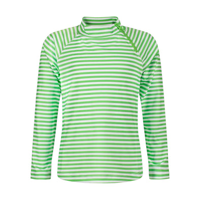 Sandy Feet Australia Long Sleeve Rashie Lime Green Stripe Long Sleeve Zip Rashie