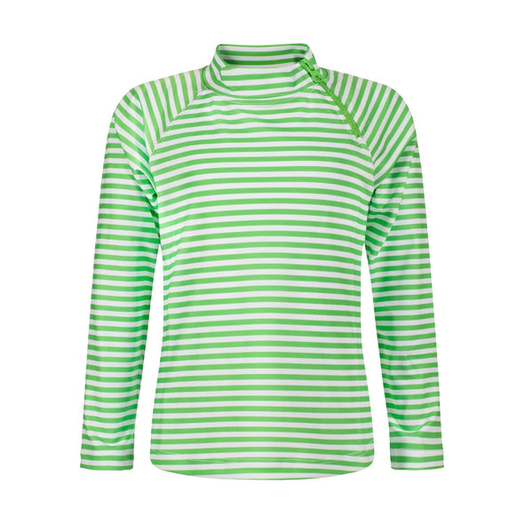 Lime Green Stripe Long Sleeve Zip Rashie