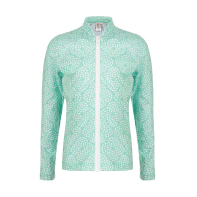 Sandy Feet Australia Long Sleeve Rashie Mint Flower Pebble  Long Sleeve Zip Rashie