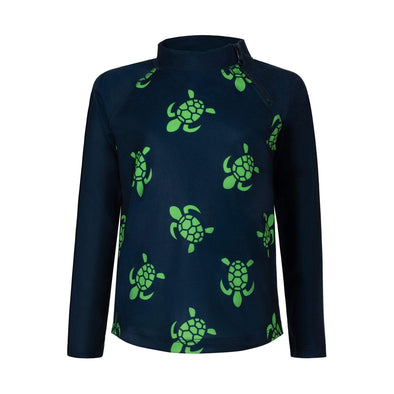 Sandy Feet Australia Long Sleeve Rashie Navy Turtle Bale Long Sleeve Zip Rashie