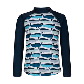 Sandy Feet Australia Long Sleeve Rashie Navy Whale Pod Long Sleeve Zip Rashie