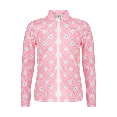 Sandy Feet Australia Long Sleeve Rashie Pink Flower Long Sleeve Zip Rashie