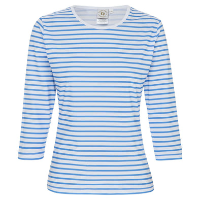 Sandy Feet Australia Long Sleeve Rashie Womens Blue Stripe Relaxed Fit 3/4 Sleeve Rashie