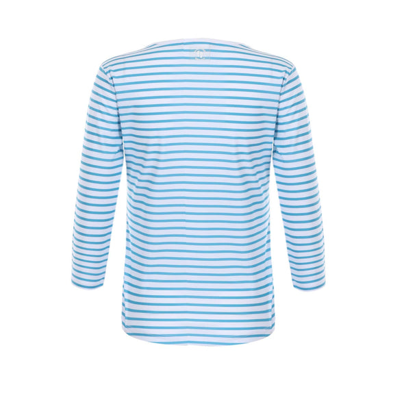 Womens Cerulean Blue Stripe 3/4 Sleeve Rashie