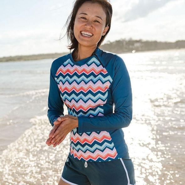 Womens Chevron Colour Burst Long Sleeve Zip Rashie