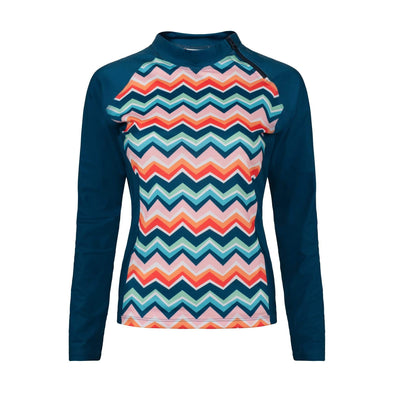 Sandy Feet Australia Long Sleeve Rashie Womens Chevron Colour Burst Long Sleeve Zip Rashie