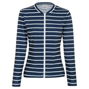 Sandy Feet Australia Long Sleeve Rashie Womens Thick Navy Stripe Long Sleeve Zip Rashie
