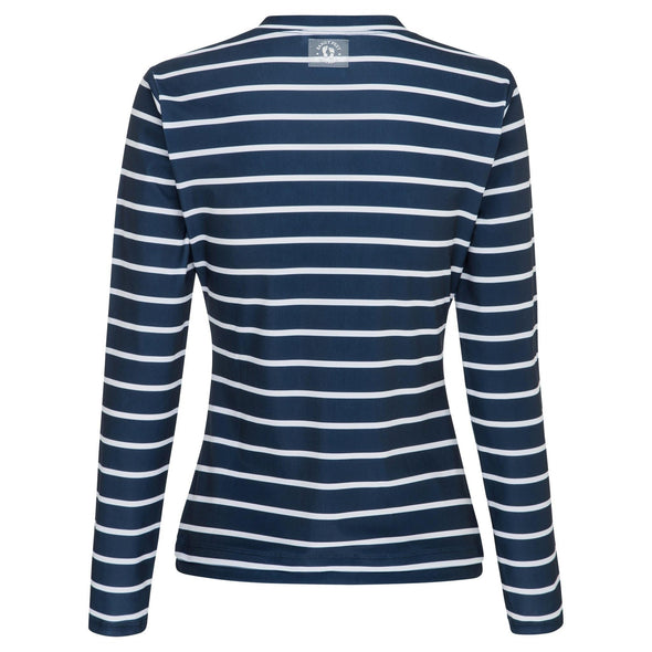 Womens Thick Navy Stripe Long Sleeve Zip Rashie