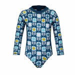 Girls Aegean Retro Flower Long Sleeve Sunsuit