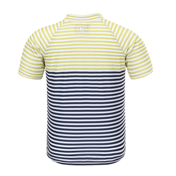 Boys Lemon Charcoal Stripe Short Sleeve Rashie