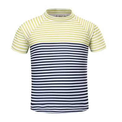 Sandy Feet Australia Short Sleeve Rashie Boys Lemon Charcoal Stripe Short Sleeve Rashie