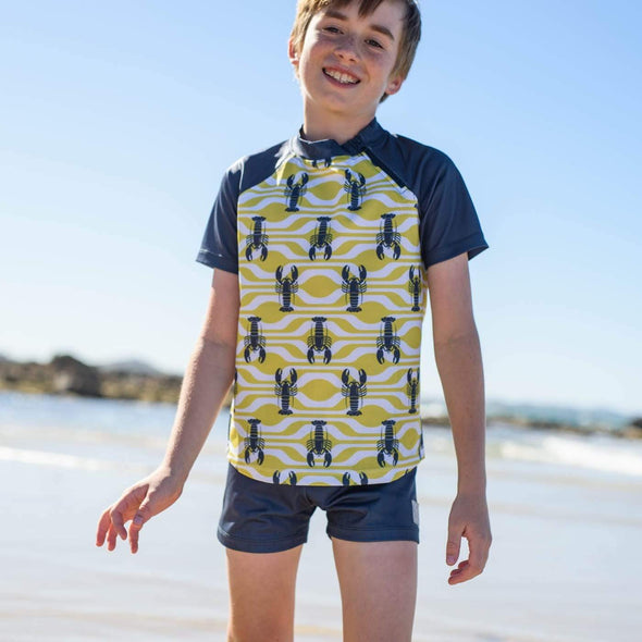 Boys Lemon Lobster Short Sleeve Zip Rashie