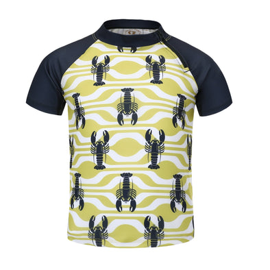Sandy Feet Australia Short Sleeve Rashie Boys Lemon Lobster Short Sleeve Zip Rashie