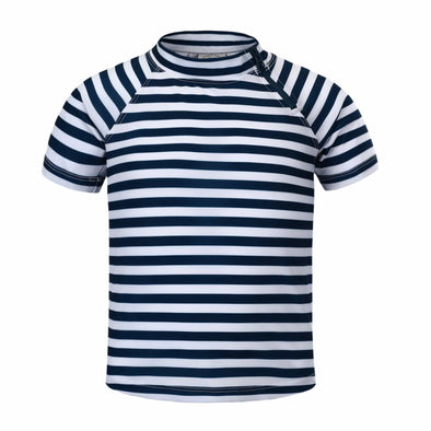 Sandy Feet Australia Short Sleeve Rashie Boys Navy Stripe Short Sleeve Zip Rashie