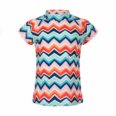 Sandy Feet Australia Short Sleeve Rashie Chevron Colour Burst Short Sleeve Rashie