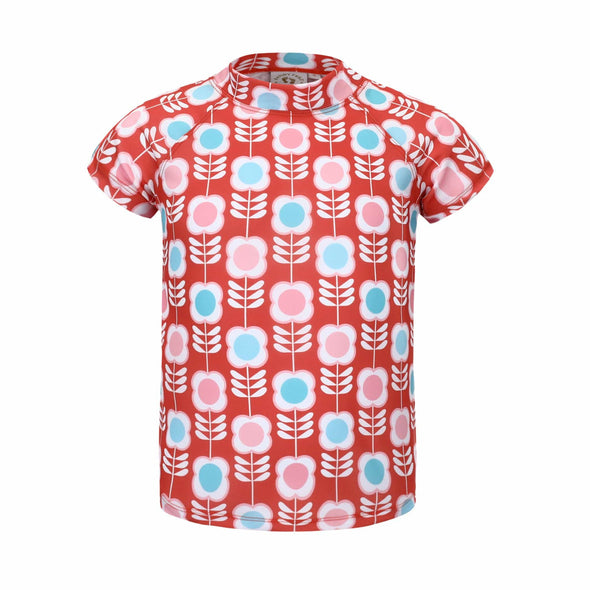 Girls Raspberry Retro Flower Short Sleeve Rashie