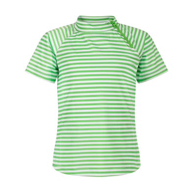 Sandy Feet Australia Short Sleeve Rashie Lime Green Stripe Short Sleeve Zip Rashie