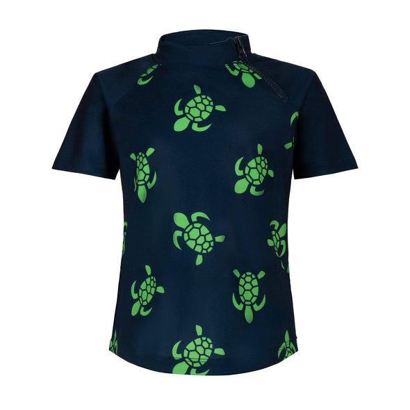 Navy Turtle Bale Short Sleeve Zip Rashie