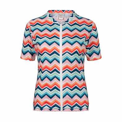 Sandy Feet Australia Short Sleeve Rashie Womens Chevron Colour Burst Short Sleeve Zip Rashie