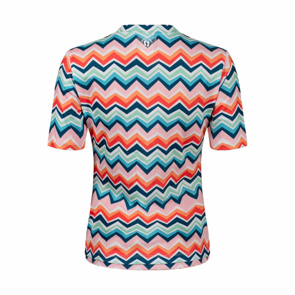Womens Chevron Colour Burst Short Sleeve Zip Rashie