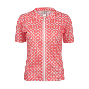 Sandy Feet Australia Short Sleeve Rashie Womens Coral Gemstone Short Sleeve Zip Rashie