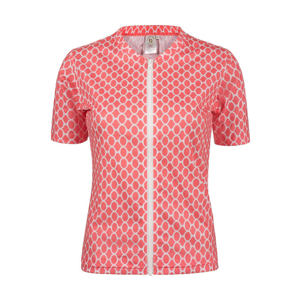 Womens Coral Gemstone Short Sleeve Zip Rashie