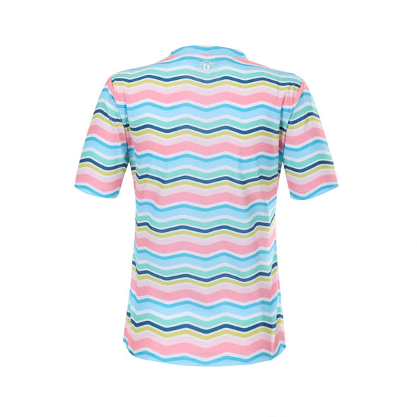 Womens Rainbow Chevron Short Sleeve Zip Rashie