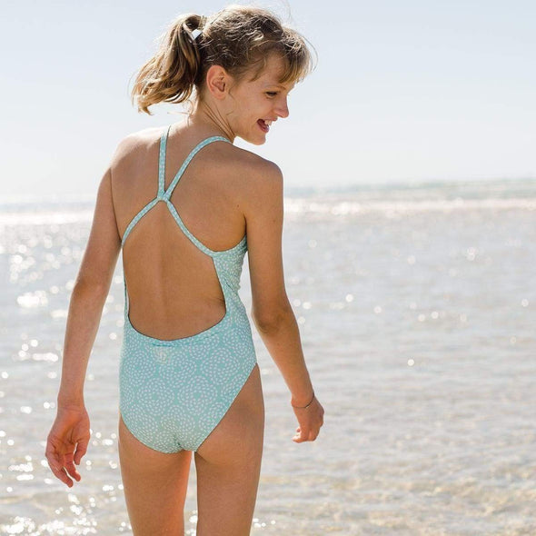 Mint Flower Pebble Racerback Swimsuit