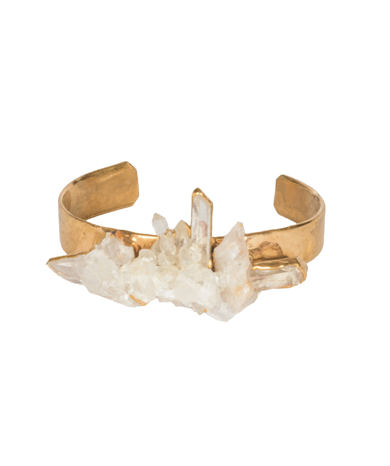 Crystal Quartz, Cuff, Gold, Brass, jewelry, crystal, healing crystal, La Maison Rebelle, gift shop, art gallery, Los Angeles