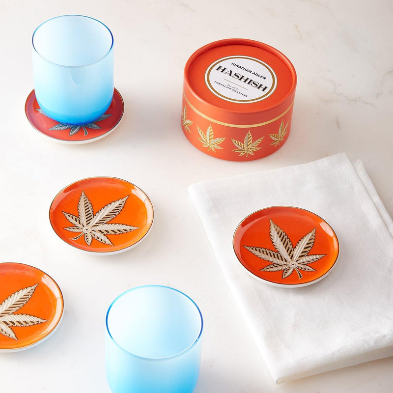 CBD, Cannabis, Hashish, Coasters, Jonathan Adler, hash, weed, marijuanna, hash, Brass, Dollar Sign, Jonathan Adler, gold, orange, gift shop, 24 k gold, art gallery, gifts, art, Los Angeles, La Maison Rebelle