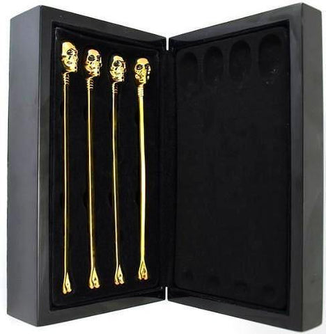D.L. & CO. GOLD SKULL SWIZZLE STICKS