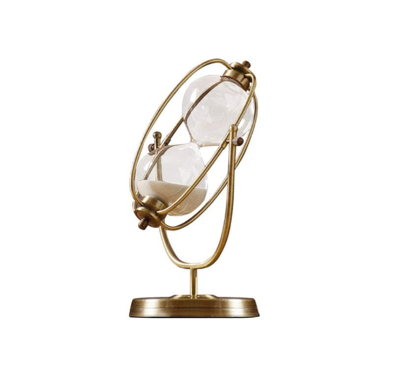 gold, rotating, hourglass, sculpture, sand timer, 60, 30 minutes, la maison rebelle, home decor, art gallery, gift shop, 60 minutes, 30 mintute