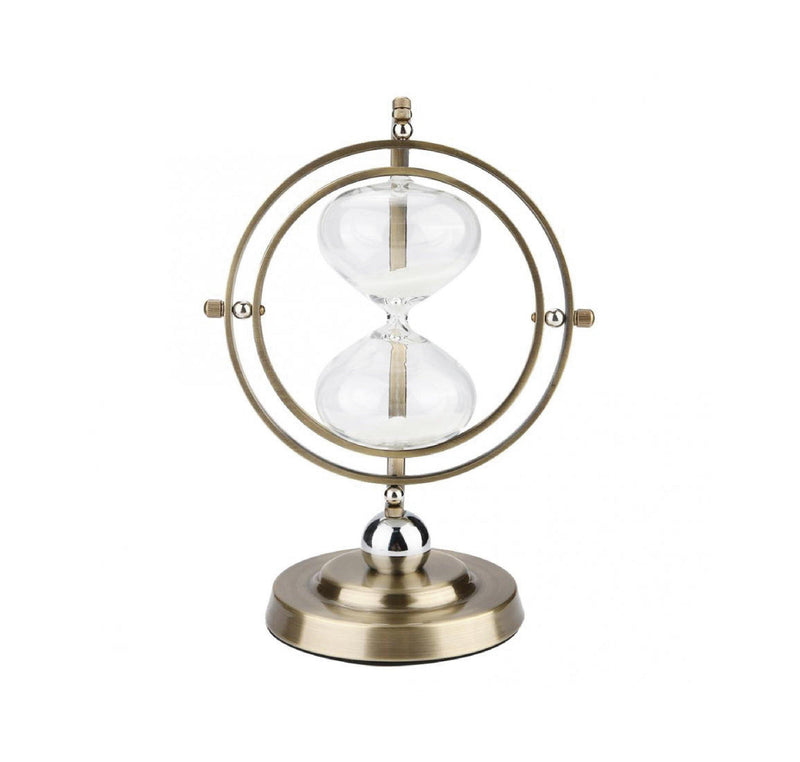 gold, rotating, hourglass, sculpture, sand timer, 15 minute, la maison rebelle, home decor, art gallery, gift shop