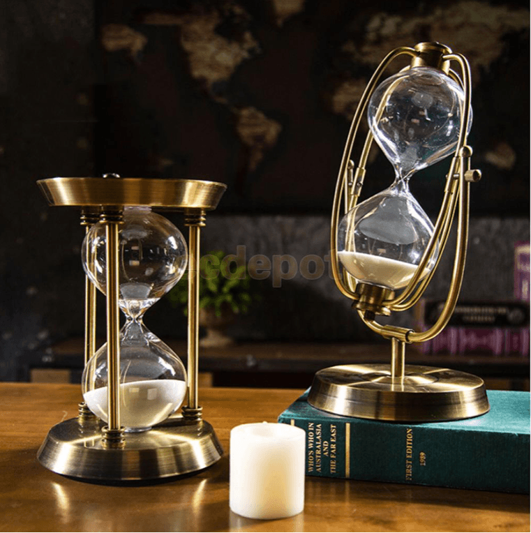gold, rotating, hourglass, sculpture, sand timer, 60, 30 minutes, la maison rebelle, home decor, art gallery, gift shop