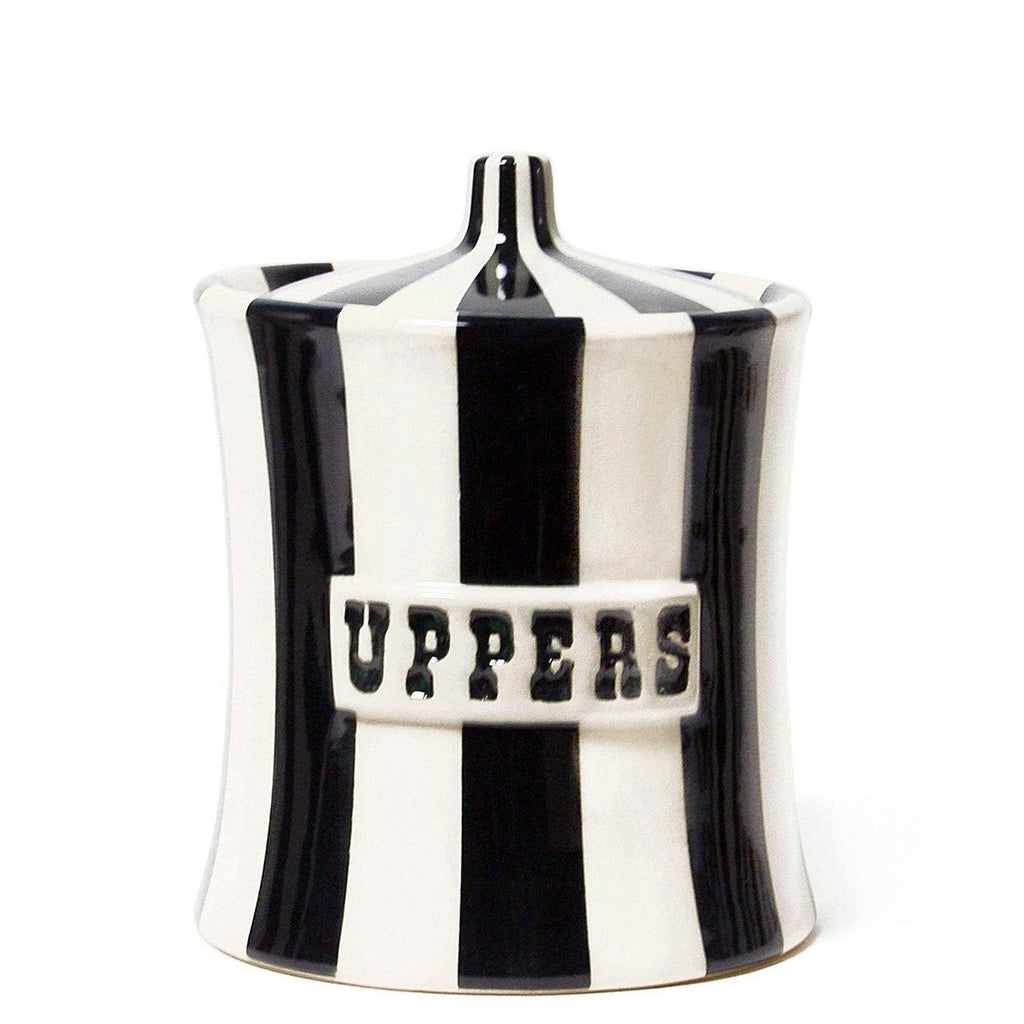 Uppers, Canister, jar, weed, black, white, stripes, luxury decor, Jonathan Adler, sculpture, decor, home, art, gift shop, gifts, home decor, art gallery, los angeles, La Maison Rebelle