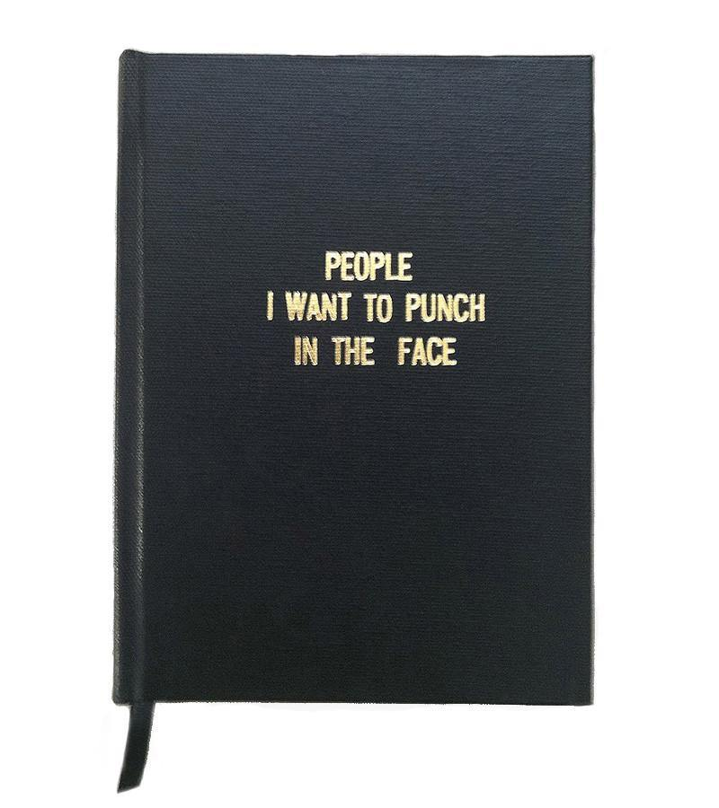 People I Want To Punch In The Face Handmade Notebook. Black, Gold. La Maison Rebelle. gift shop, Los Angeles.